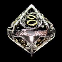 TDSO Metal Hollow Dragon Silver & Gold Percentile Dice