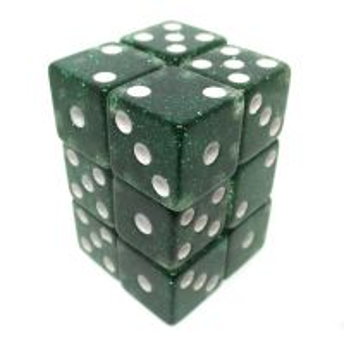 Koplow Glitter Green Square Cornered 12 x D6 Dice Set