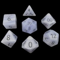 TDSO Agate Lace with Engraved Numbers 16mm Precious Gem 7 Dice Polyset