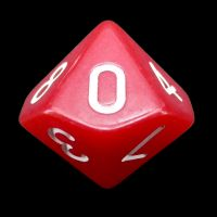 Impact Opaque Red & White D10 Dice