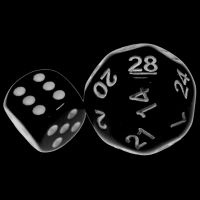 Impact Opaque Black & White D28 Dice