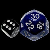 Impact Opaque Blue & White D30 Dice