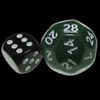 Impact Opaque Green & White D28 Dice