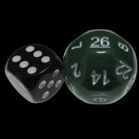 Impact Opaque Green & White D26 Dice