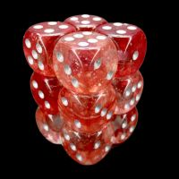 Chessex Nebula Red & Silver Luminary Glow In Dark 12 x D6 Dice Set