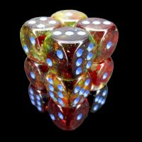 Chessex Nebula Primary & Blue Luminary Glow In Dark 12 x D6 Dice Set