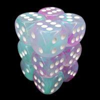 Chessex Nebula Wisteria & White Luminary Glow In Dark 12 x D6 Dice Set