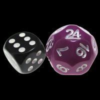 Impact Opaque Light Purple & White D24 Dice