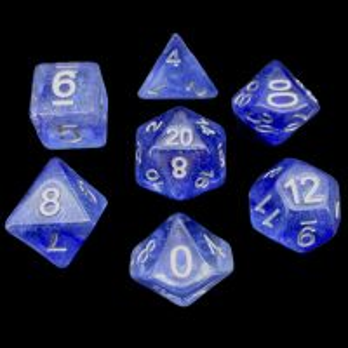 TDSO Galaxy Glitter Blue Veil 7 Dice Polyset