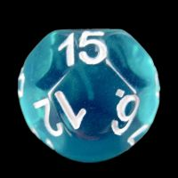 Impact Translucent Gem Teal & White D15 Dice