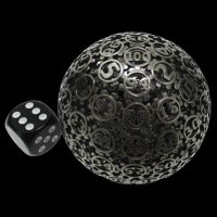 TDSO Metal Hollow Gear Antique Silver 50mm D100 Dice In Protective Case