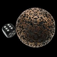TDSO Metal Hollow Gear Antique Copper 50mm D100 Dice In Protective Case