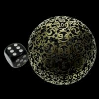 TDSO Metal Hollow Gear Antique Brass 50mm D100 Dice In Protective Case