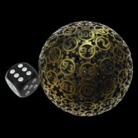 HALF PRICE TDSO Metal Hollow Gear Antique Gold 50mm D100 Dice In Protective Case