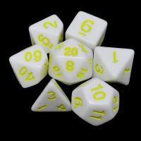 TDSO Wonderful White Dice & Yellow  7 Dice Polyset