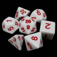 TDSO Wonderful White Dice & Red 7 Dice Polyset