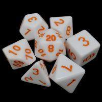 TDSO Wonderful White Dice & Orange 7 Dice Polyset