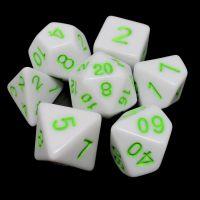 TDSO Wonderful White Dice & Bright Green 7 Dice Polyset
