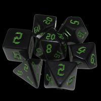 TDSO Gothic Black & Green 7 Dice Polyset
