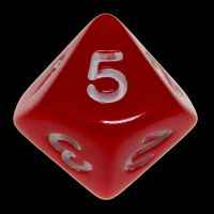 Koplow Opaque Red & White 20mm D5 Dice