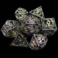TDSO Metal Hollow Dragon Black Nickel & Gold 7 Dice Polyset