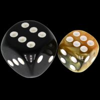 TDSO Duel Black & Gold With White 12mm D6 Spot Dice