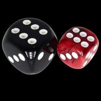 TDSO Duel Black & Red With White 12mm D6 Spot Dice