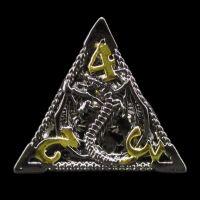 TDSO Metal Hollow Dragon Black Nickel & Gold D4 Dice