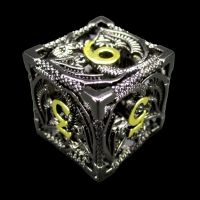 TDSO Metal Hollow Dragon Black Nickel & Gold D6 Dice