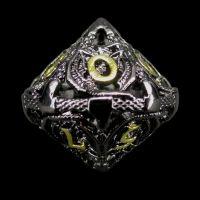 TDSO Metal Hollow Dragon Black Nickel & Gold D10 Dice