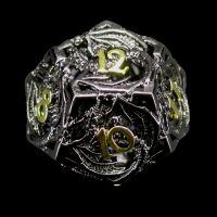 TDSO Metal Hollow Dragon Black Nickel & Gold D12 Dice
