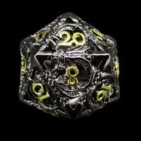 TDSO Metal Hollow Dragon Black Nickel & Gold D20 Dice