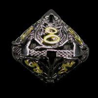 TDSO Metal Hollow Dragon Black Nickel & Gold Percentile Dice