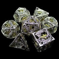 TDSO Metal Hollow Dragon Bright Silver & Gold 7 Dice Polyset