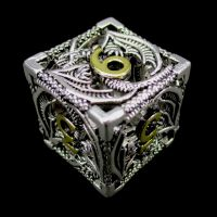 TDSO Metal Hollow Dragon Bright  Silver & Gold D6 Dice