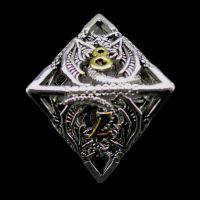 TDSO Metal Hollow Dragon Bright Silver & Gold D8 Dice