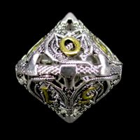TDSO Metal Hollow Dragon Bright Silver & Gold D10 Dice