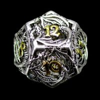 TDSO Metal Hollow Dragon Bright Silver & Gold D12 Dice
