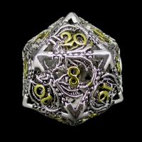 TDSO Metal Hollow Dragon Bright Silver & Gold D20 Dice