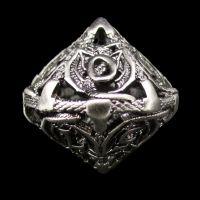 TDSO Metal Hollow Dragon Antique Black Nickel D10 Dice