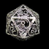 TDSO Metal Hollow Dragon Antique Black Nickel D20 Dice