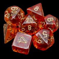 TDSO Amber & Copper Gear & Cogs 7 Dice Polyset