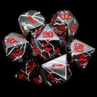 TDSO Metal 'Thor' Lightning Black Nickel White & Red 7 Dice Polyset