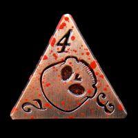 TDSO Metal Skull Copper & Blood Spatter D4 Dice