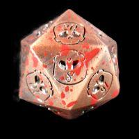 TDSO Metal Skull Copper & Blood Spatter D20 Dice