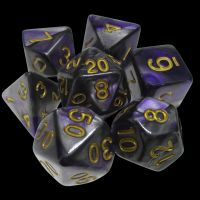 TDSO Duel Purple & Steel with Gold 7 Dice Polyset