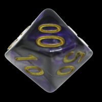TDSO Duel Purple & Steel with Gold Percentile Dice