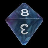 TDSO Duel Purple & Teal with White D8 Dice