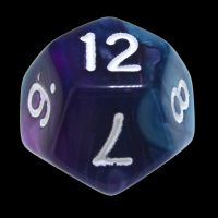 TDSO Duel Purple & Teal with White D12 Dice
