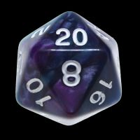TDSO Duel Purple & Teal with White D20 Dice